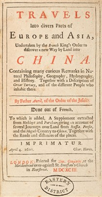 Lot 92-Avril (Philippe). Travels into divers Parts of Europe and Asia ... into China, 1693