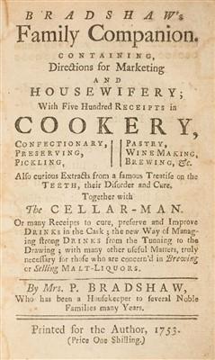 Lot 211-Bradshaw (Penelope). Bradshaw's Family Companion, 1753