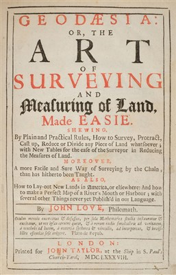 Lot 87-Love (John). Geodaesia: or, the Art of Surveying and Measuring of Land, 1st edition 1688