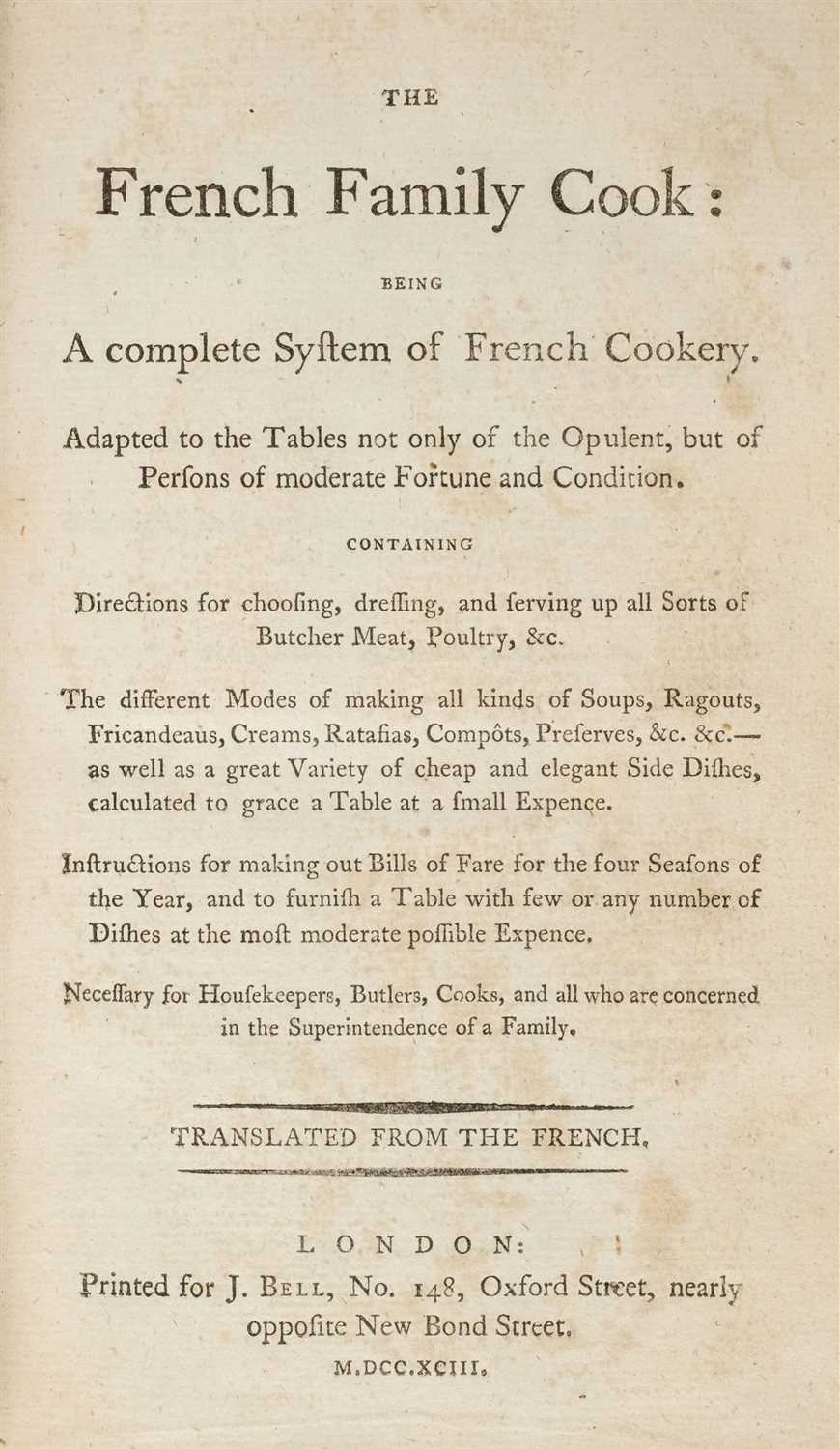 Lot 310 - Menon. The French Family Cook, 1793