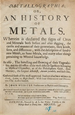 Lot 43-Webster (John). Metallographia, 1st edition, 1671
