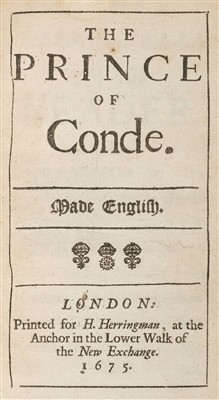 Lot 51-Boursault (Edmé). The Prince of Conde, 1st edition in English, 1675
