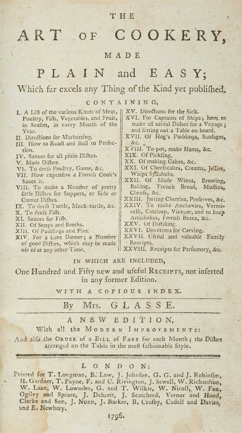 Lot 321-Glasse (Hannah). The Art of Cookery, 1796