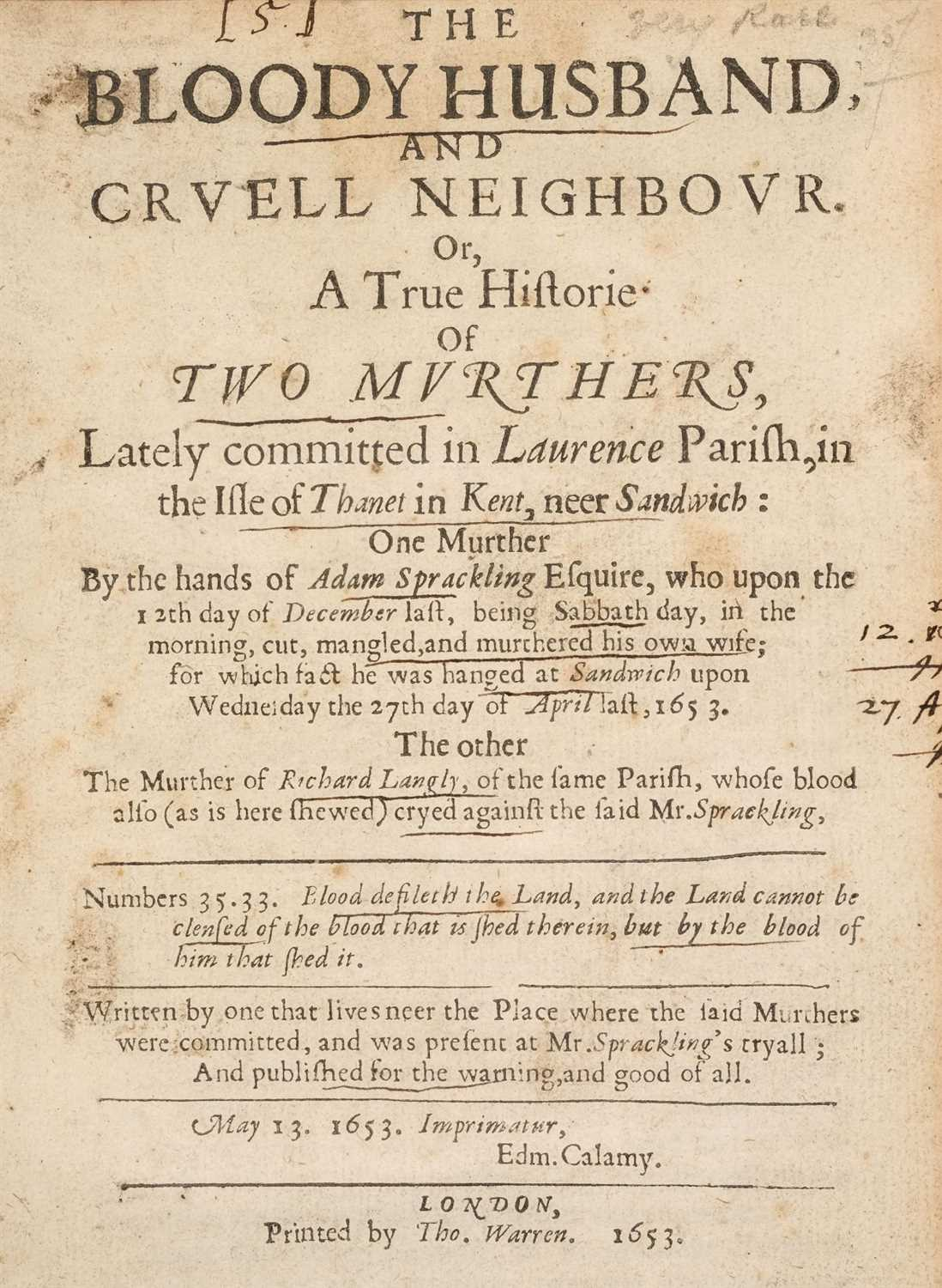 Lot 23-Account of a Murder. The Unhappy Marksman, 1659