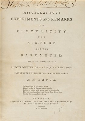 Lot 291 - Brook (Abraham). Miscellaneous Experiments and Remarks on Electricity, 1789
