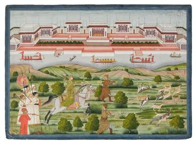 Lot 403 - Provincial Mughal School. 'The Nabob Shujah al Dawlah on horse back', 1760