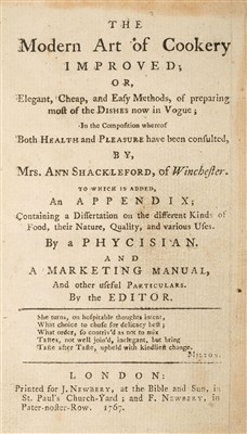 Lot 247 - Shackleford (Ann). The Modern Art of Cookery Improved, 1767