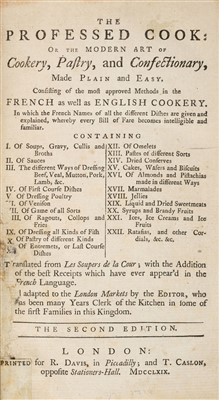 Lot 250 - Menon (& Bernard Clermont). The Professed Cook: or, the Modern Art of Cookery, 1769
