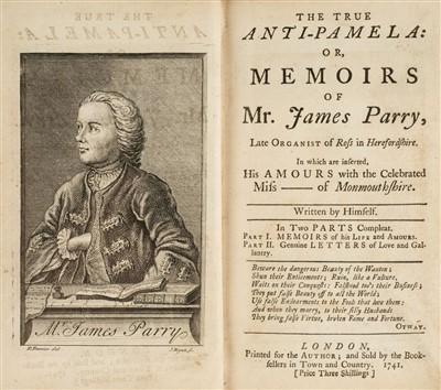 Lot 186 - Parry (James). The True Anti-Pamela, 1st edition, 1741