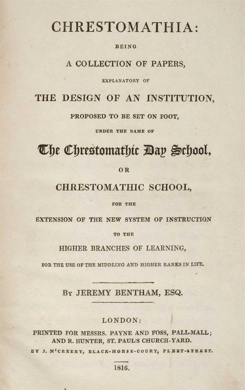 Lot 350 - Bentham (Jeremy). Chrestomathia, 1st collected edition, 1816-17