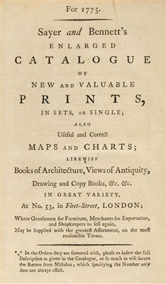 Lot 263-Bookseller's catalogue. Sayer and Bennett's Enlarged Catalogue..., 1775
