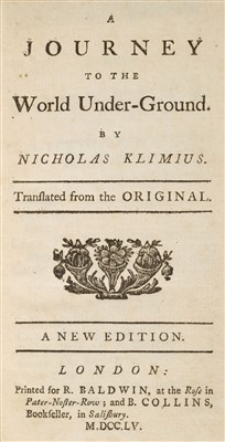 Lot 214 - Holberg (Ludwig). A Journey to the World Under-Ground. By Nicholas Klimius, 1755