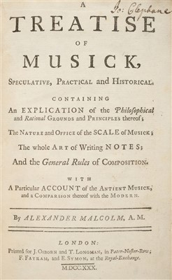 Lot 162 - Malcolm (Alexander). A Treatise of Musick, 1730