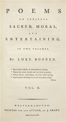 Lot 282 - Booker (Luke). Poems on Subjects Sacred, Moral, and Entertaining, 1785