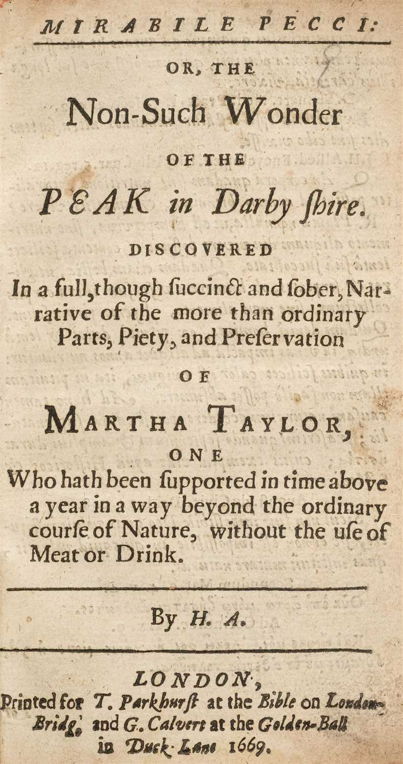 Lot 39-H.A. Mirabile Pecci: or, The Non-Such Wonder of the Peak in Darby shire discovered, 1669