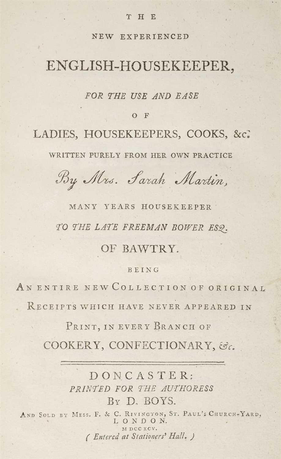 Lot 319-Martin (Sarah). The New Experienced English-Housekeeper, Doncaster, 1795