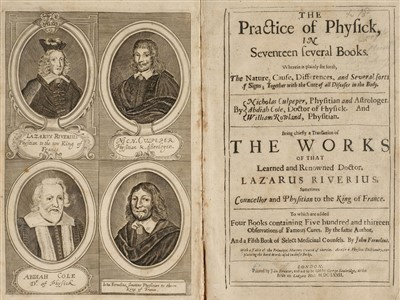 Lot 44-Rivière (Lazare). The Practice of Physick, 1st edition, 1672