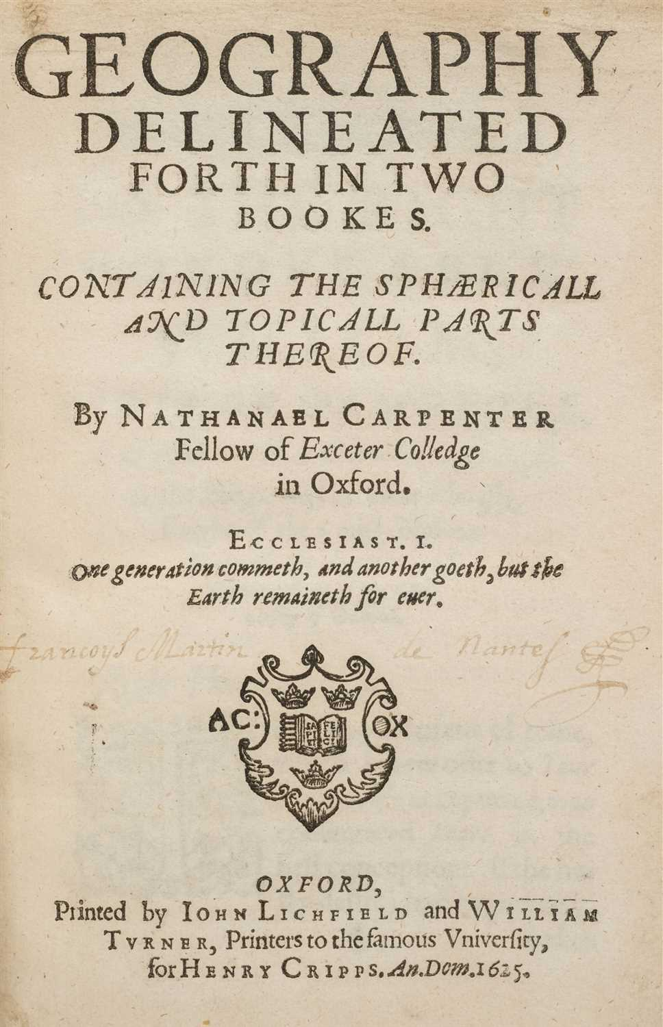 Lot 14-Carpenter (Nathaniel). Geography delineated forth in Two Bookes, 1st edition, 1625