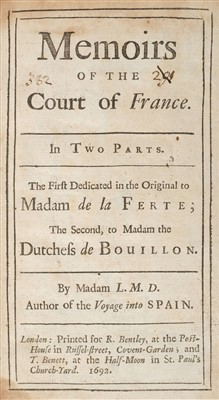 Lot 90-Aulnoy (Marie-Catherine, Madame d'). Memoirs of the Court of France, 1692