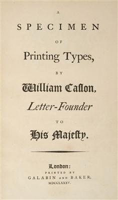 Lot 286 - Type Specimen. A Specimen of Printing Types, by William Caslon, 1785