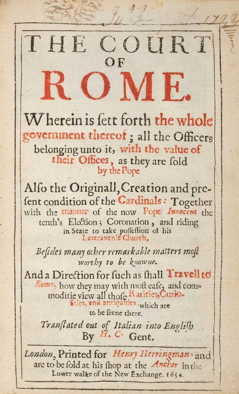 Lot 20-Lunadoro (Girolamo). The Court of Rome, 1st edition in English, 1654