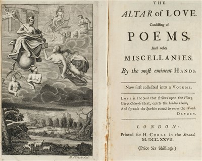 Lot 159 - Poetical miscellany. The Altar of Love, 1st edition, 1727