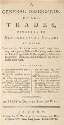 Lot 195 - Trades. A General Description of all Trades, Digested in Alphabetical Order, 1747