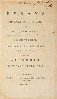 Lot 264 - Lavoisier (Antoine). Essays, Physical and Chemical, 1st edition in English, 1776