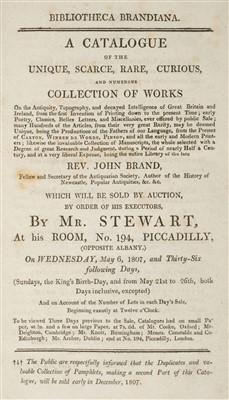 Lot 339 - Auction Catalogue. Bibliotheca Brandiana, 1807