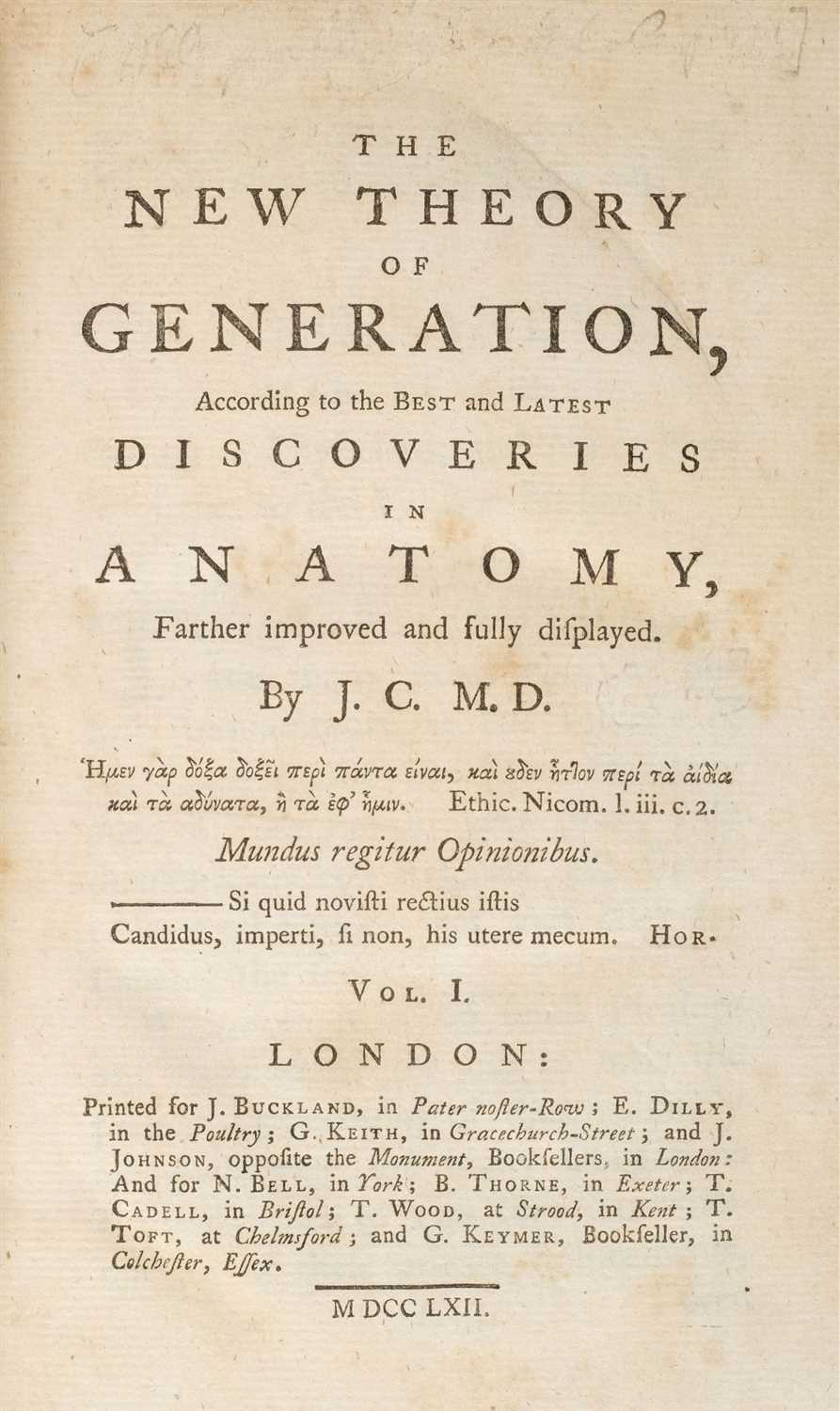 Lot 237 - Cook (John). The New Theory of Generation, 1762