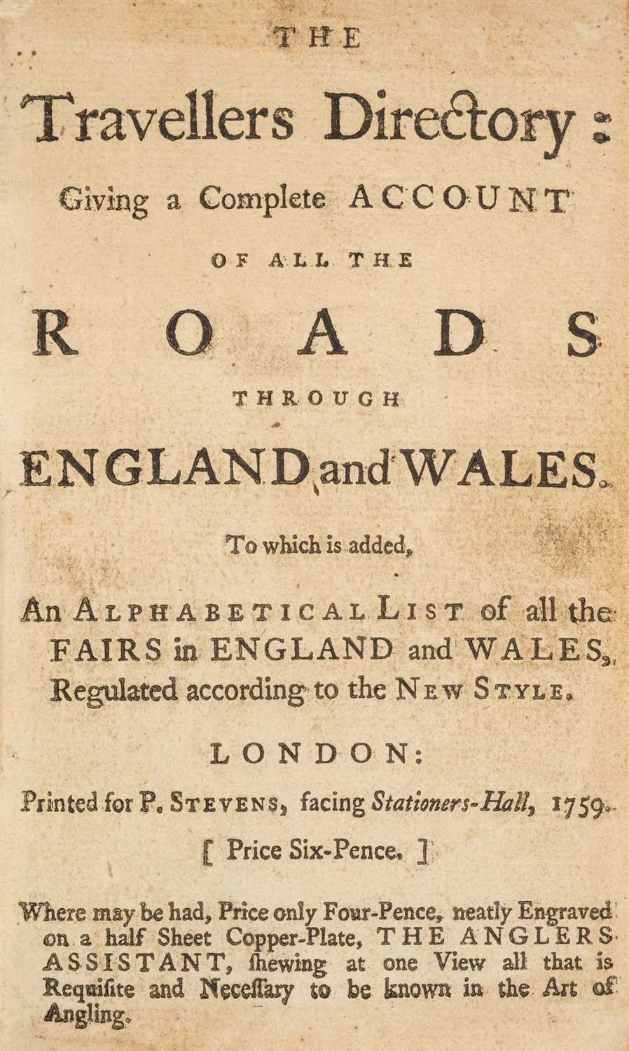 Lot 225 - Stevens (P., publisher). The Travellers Directory, 1759