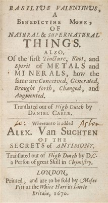 Lot 40-Valentinus (Basilius). Of Natural & Supernatural Things, 1670
