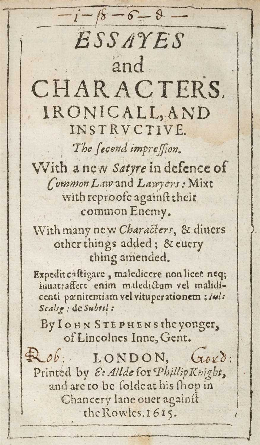 Lot 10-Stephens (John). Essayes and Characters, Ironicall, and Instructive, 1615