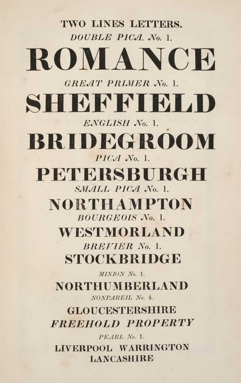 Lot 372 - Type Specimen. Specimen of printing types, by Bower & Bacon, Sheffield, 1835