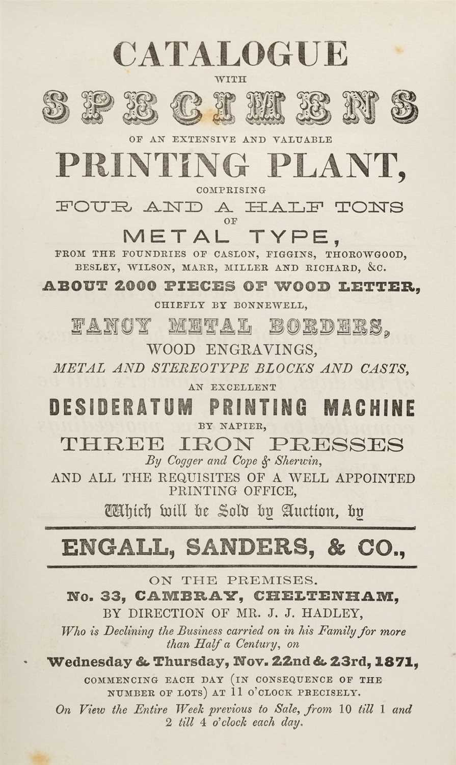 Lot 385 - Type Auction. Catalogue with Specimens of an Extensive and Valuable Printing Plant, 1871