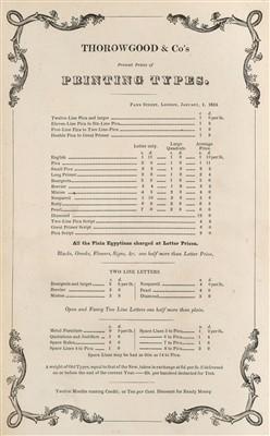 Lot 373 - Type Specimen. Fann Street Letter Foundry, 1835