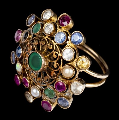 Lot 20-Ring. A multi gem ring, probably Indian