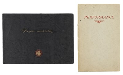 Lot 13-Bentley. Performance. Road Tests of the Bentley Saloon Mark VI (4 I/2 Litre), circa 1952
