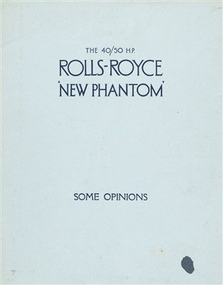 Lot 31-Rolls-Royce. The 40/50 H.P. Rolls-Royce 'New Phantom', sales brochure, circa 1927