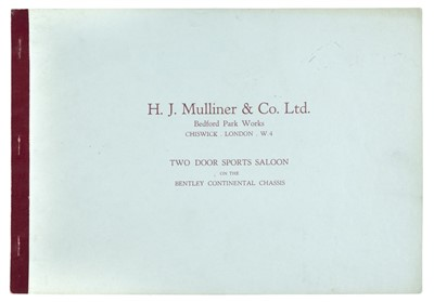 Lot 12-Bentley. H.J. Mulliner & Co. Ltd coachworks brochure for Bentley, circa 1960