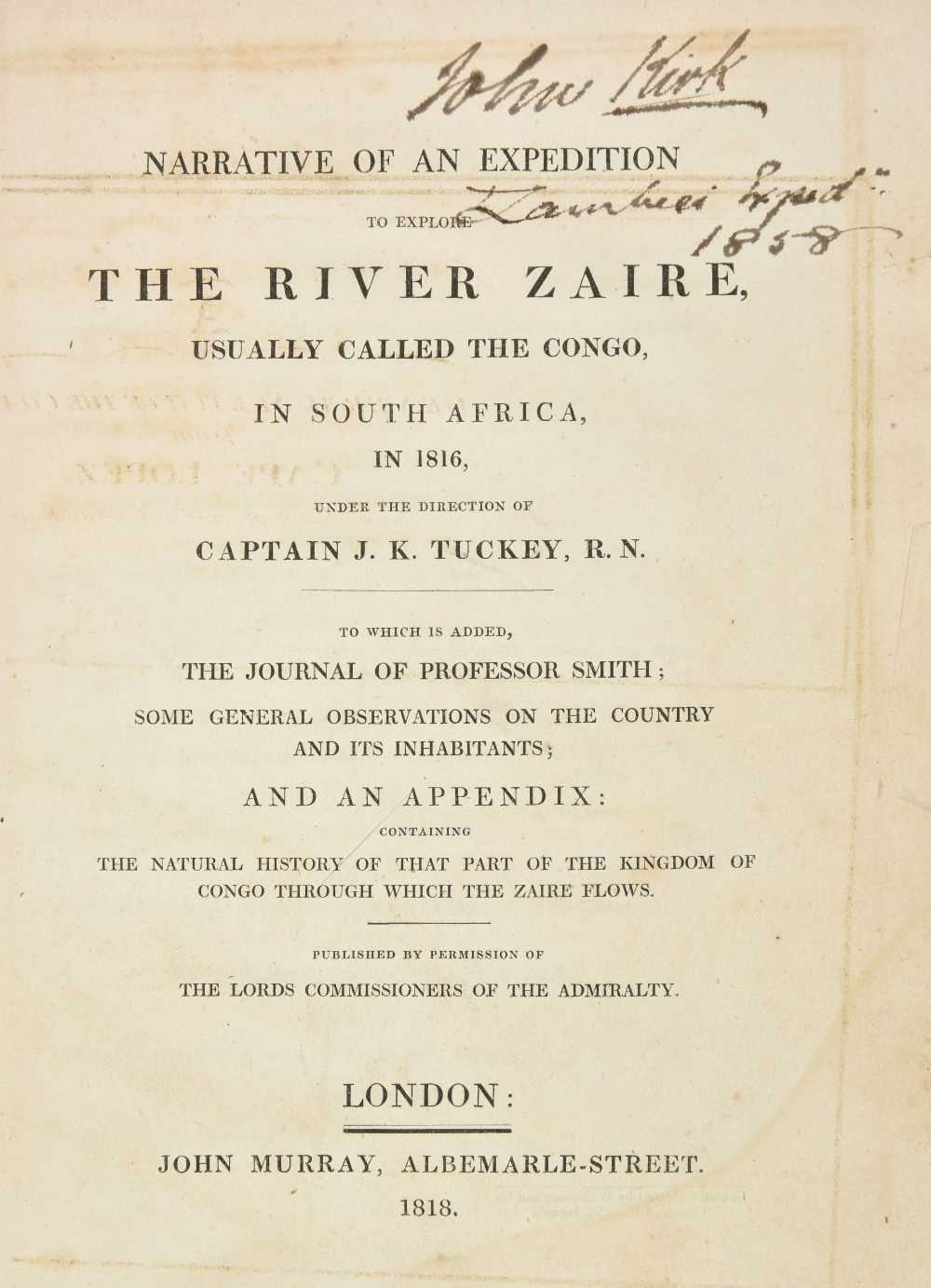 Lot 34-Tuckey (James Kingston). Expedition to the River Zaire, 1st edition 1818, association copy