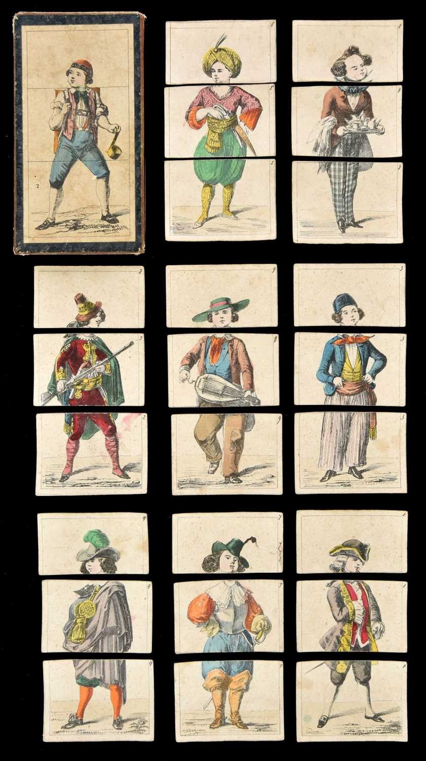 Lot 525-Transformation Game. Metamorphosis costume cards, circa 1840s