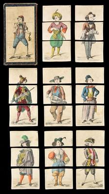 Lot 525-Transformation Game. Metamorphosis costume cards, circa 1840s