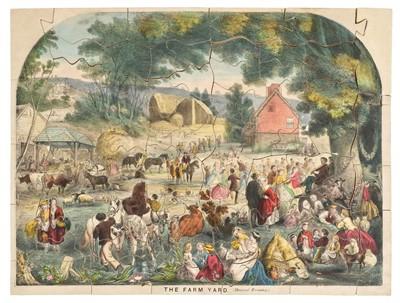 Lot 519-Jigsaw. The Farm Yard. (Harvest Evening.), James Barfoot, circa 1860