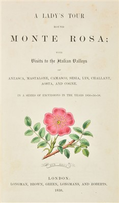 Lot 9-Cole, Mrs Henry Warwick. A Lady's Tour Around Monterosa, 1859