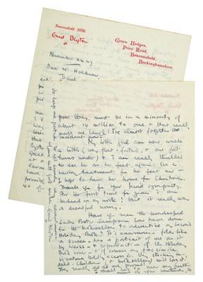 Lot 537-Blyton (Enid, 1897-1968). Autograph Letter, Signed, 1947