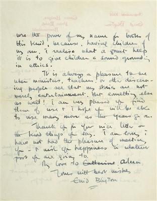 Lot 538-Blyton (Enid, 1897-1968). Autograph Letter, Signed, 1948