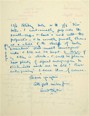 Lot 540-Blyton (Enid, 1897-1968). Autograph Letter, Signed, 1950s