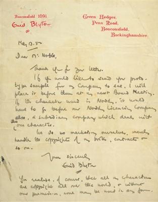 Lot 542-Blyton (Enid, 1897-1968). Autograph Letter, Signed, 1952
