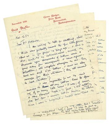 Lot 543-Blyton (Enid, 1897-1968). Autograph Letter, Signed, 1952